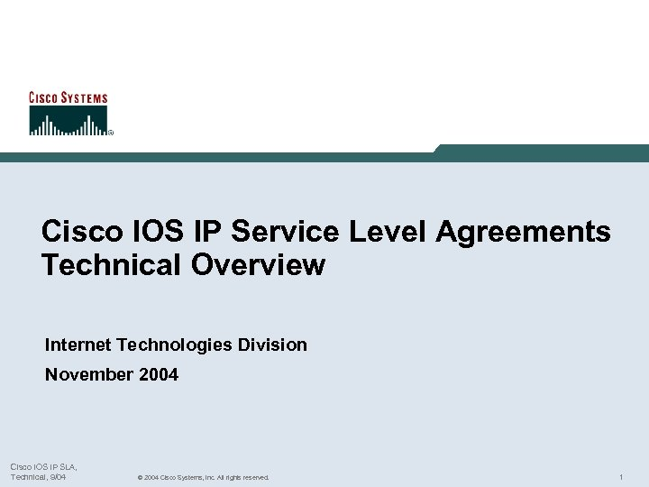 Cisco IOS IP Service Level Agreements Technical Overview