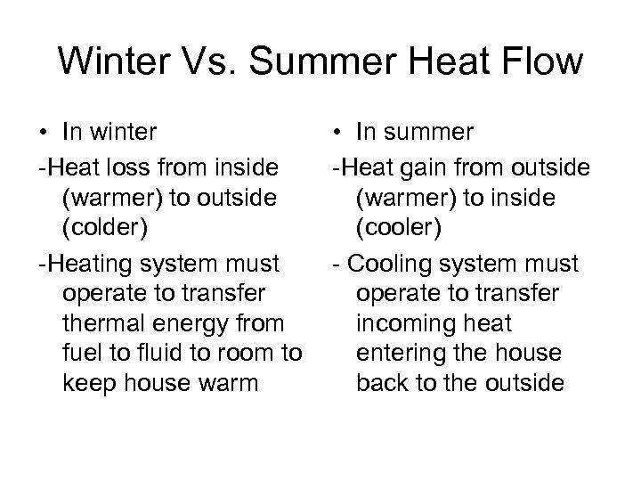 Winter Vs. Summer Heat Flow • In winter -Heat loss from inside (warmer) to