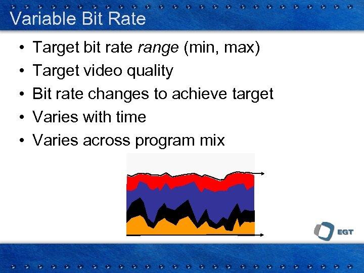Variable Bit Rate • • • Target bit rate range (min, max) Target video
