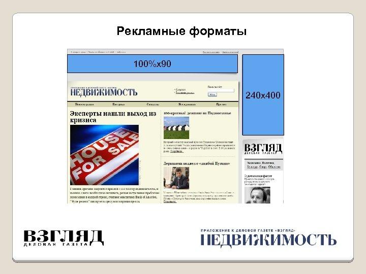 Рекламные форматы 100%х90 240 х400