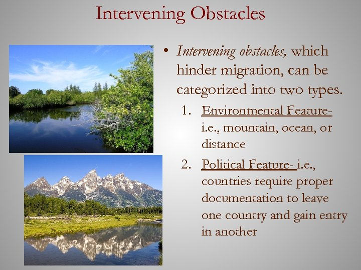 Intervening Obstacles • Intervening obstacles, which hinder migration, can be categorized into two types.
