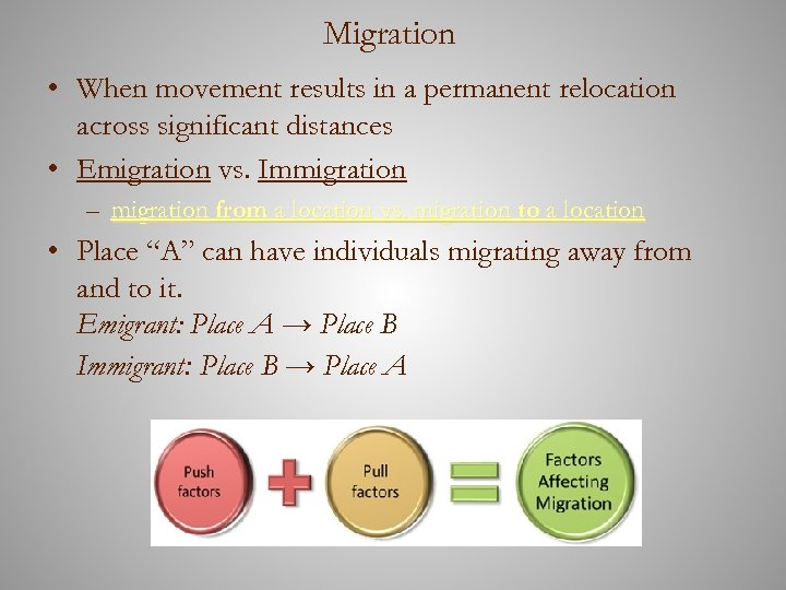 Migration • When movement results in a permanent relocation across significant distances • Emigration