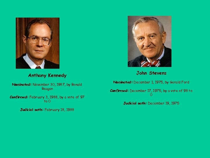 Anthony Kennedy Nominated: November 30, 1987, by Ronald Reagan Confirmed: February 3, 1988, by