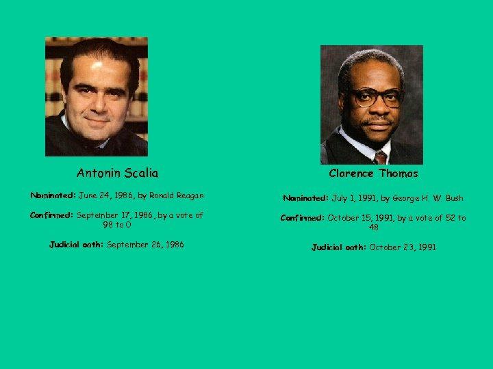 Antonin Scalia Clarence Thomas Nominated: June 24, 1986, by Ronald Reagan Nominated: July 1,