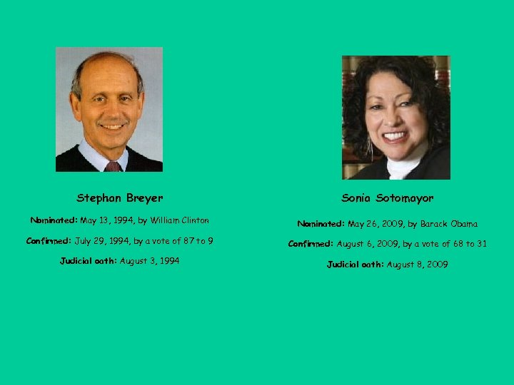 Stephan Breyer Sonia Sotomayor Nominated: May 13, 1994, by William Clinton Nominated: May 26,