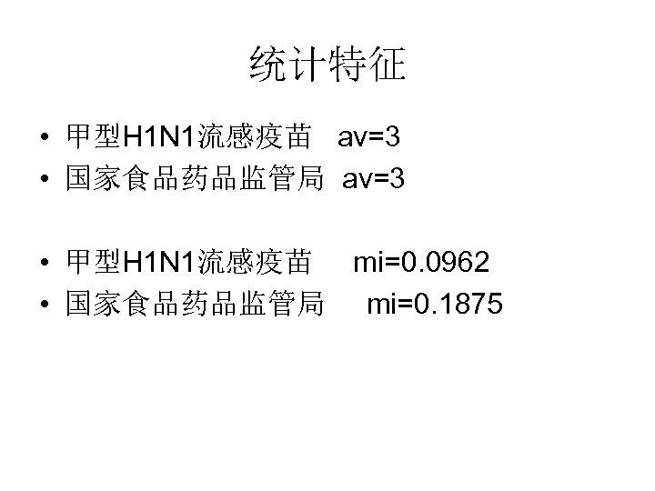 统计特征 • 甲型H 1 N 1流感疫苗 av=3 • 国家食品药品监管局 av=3 • 甲型H 1 N