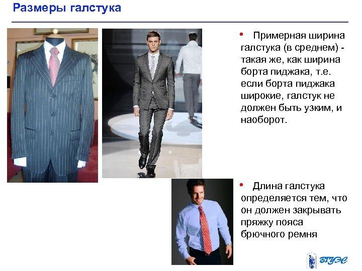 Размеры галстука • Примерная ширина галстука (в среднем) такая же, как ширина борта пиджака,