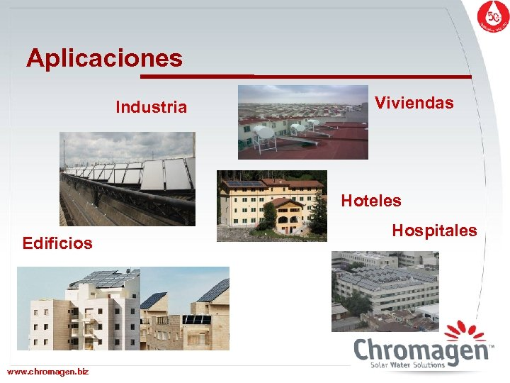 Aplicaciones Industria Viviendas Hoteles Edificios www. chromagen. biz Hospitales