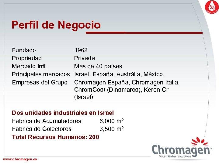 Perfil de Negocio Fundado Propriedad Mercado Intl. Principales mercados Empresas del Grupo 1962 Privada