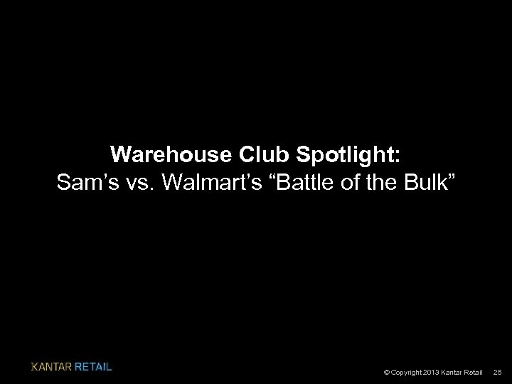 "Warehouse Club Spotlight: Sam's vs. Walmart's ""Battle of the Bulk"" © Copyright 2013 Kantar"