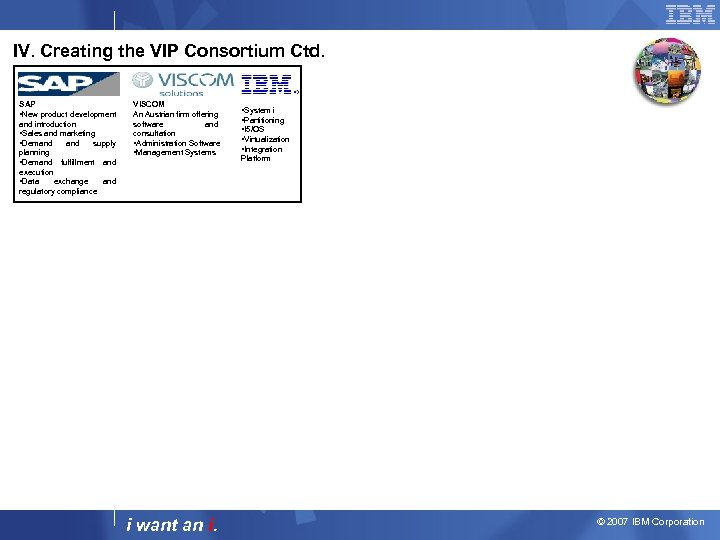 IV. Creating the VIP Consortium Ctd. SAP • New product development and introduction •