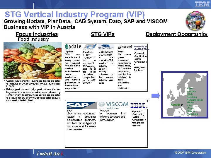 STG Vertical Industry Program (VIP) Growing Update, Plan. Data, CAB System, Dato, SAP and