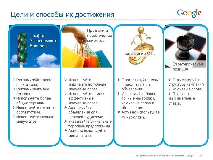 Цели и способы их достижения Трафик Узнаваемость Брендинг Продажи и привлечение клиентов Повышение CTR
