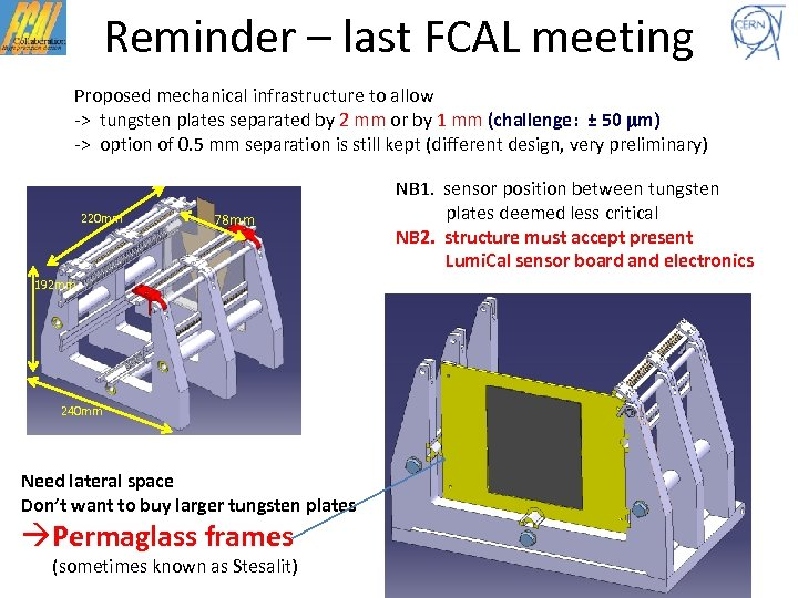 Reminder – last FCAL meeting Proposed mechanical infrastructure to allow -> tungsten plates separated