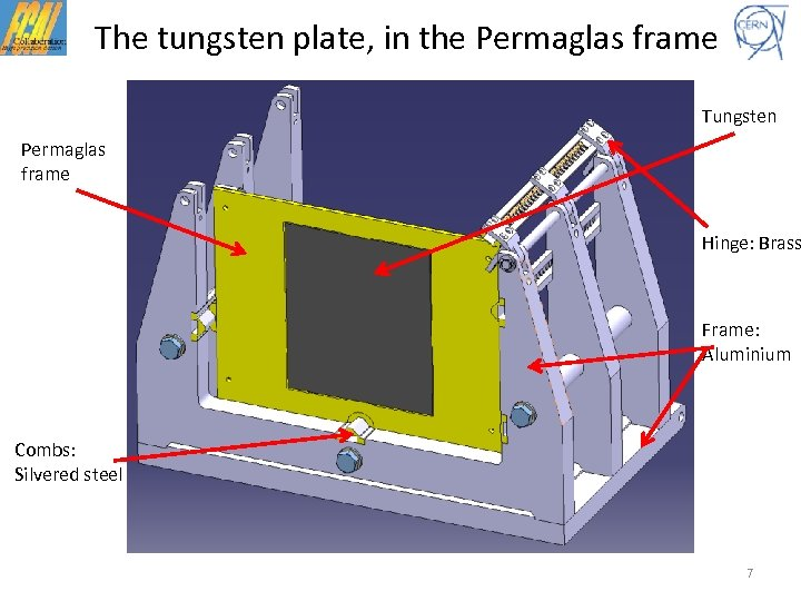 The tungsten plate, in the Permaglas frame Tungsten Permaglas frame Hinge: Brass Frame: Aluminium
