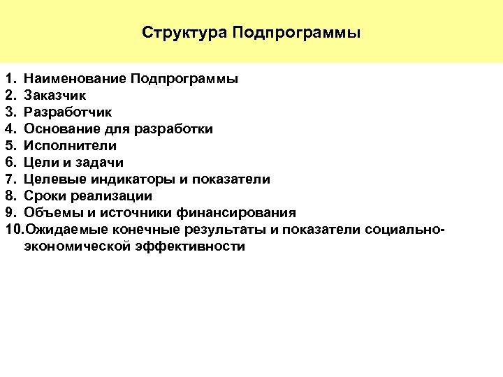 Структура Подпрограммы 1. Наименование Подпрограммы 2. Заказчик 3. Разработчик 4. Основание для разработки 5.