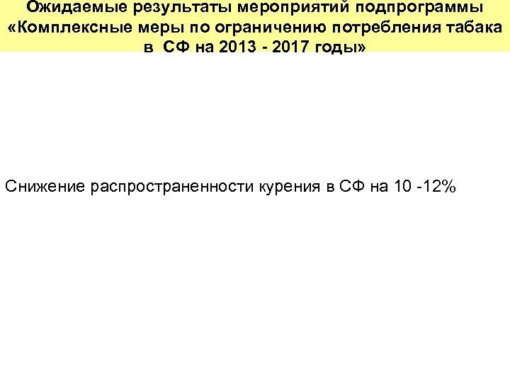 Ожидаемые результаты мероприятий подпрограммы «Комплексные меры по ограничению потребления табака в СФ на 2013