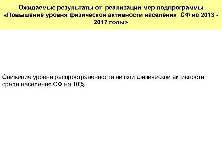 Ожидаемые результаты от реализации мер подпрограммы «Повышение уровня физической активности населения СФ на 2013