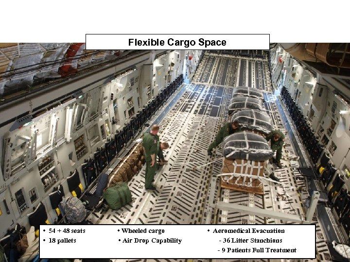 Flexible Cargo Space • 54 + 48 seats • 18 pallets • Wheeled cargo