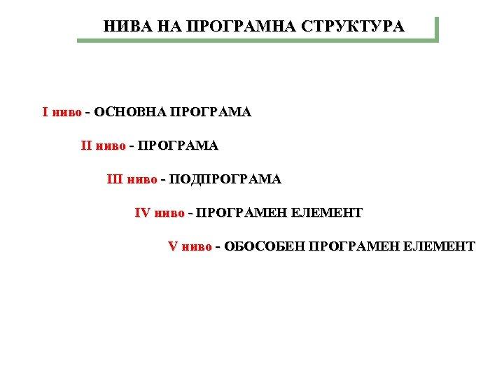 НИВА НА ПРОГРАМНА СТРУКТУРА I ниво - ОСНОВНА ПРОГРАМА II ниво - ПРОГРАМА III
