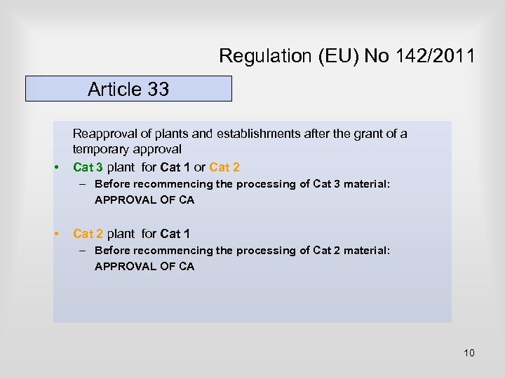 Regulation (EU) No 142/2011 Article 33 • Reapproval of plants and establishments after the