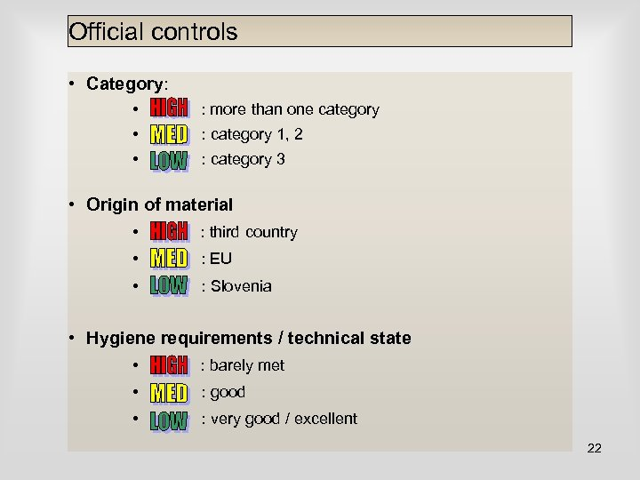 Official controls • Category: • : more than one category • : category 1,