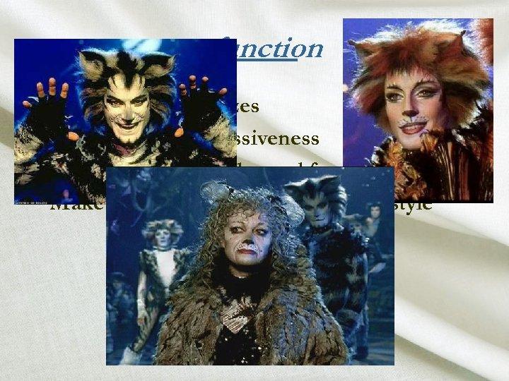 function • • Makeup characterizes Makeup aids expressiveness Makeup restores color and form Makeup