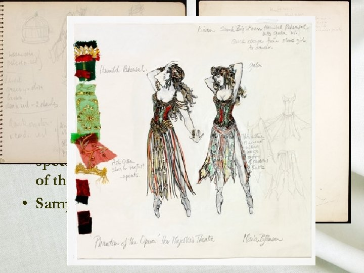 working drawing • Color sketch for each costume • Shows the lines and details