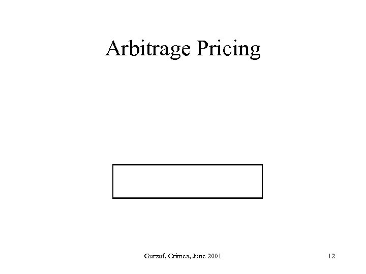 Arbitrage Pricing Gurzuf, Crimea, June 2001 12