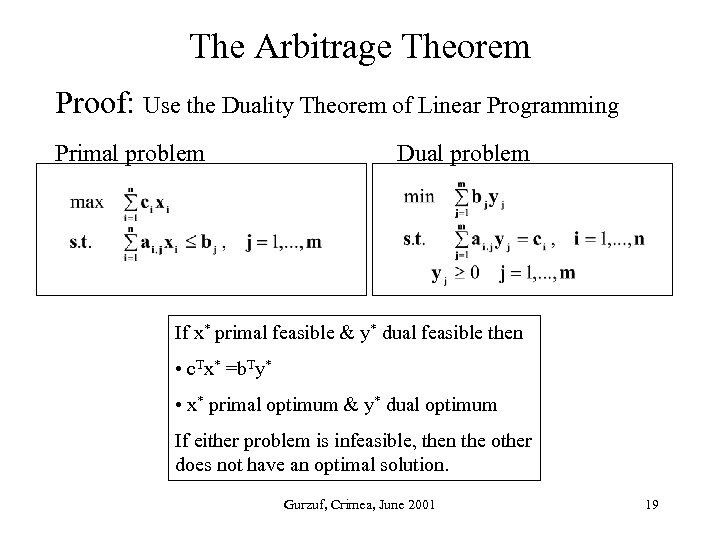 The Arbitrage Theorem Proof: Use the Duality Theorem of Linear Programming Primal problem Dual
