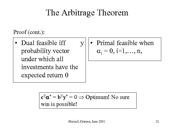 The Arbitrage Theorem Proof (cont. ): • Dual feasible iff y • Primal feasible