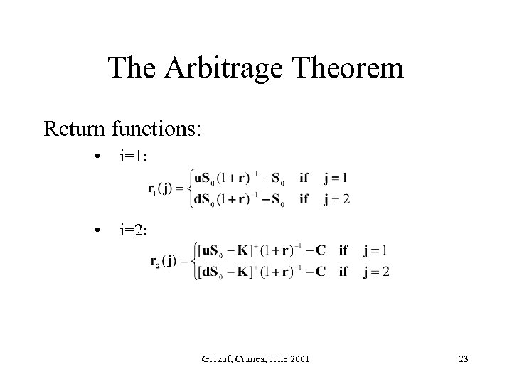 The Arbitrage Theorem Return functions: • i=1: • i=2: Gurzuf, Crimea, June 2001 23