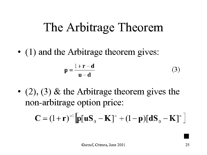 The Arbitrage Theorem • (1) and the Arbitrage theorem gives: (3) • (2), (3)
