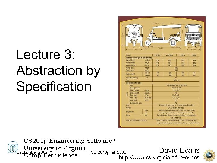 Lecture 3: Abstraction by Specification CS 201 j: Engineering Software? University of Virginia David