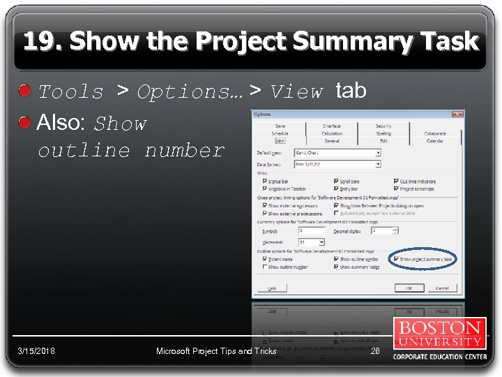 19. Show the Project Summary Task Tools > Options… > View tab Also: Show