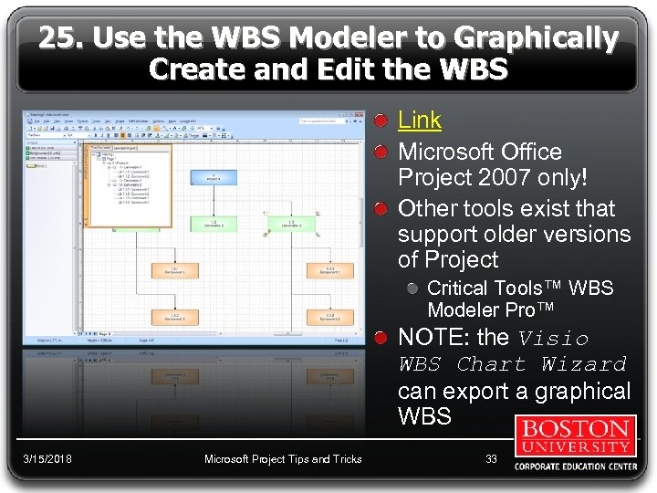 25. Use the WBS Modeler to Graphically Create and Edit the WBS Link Microsoft