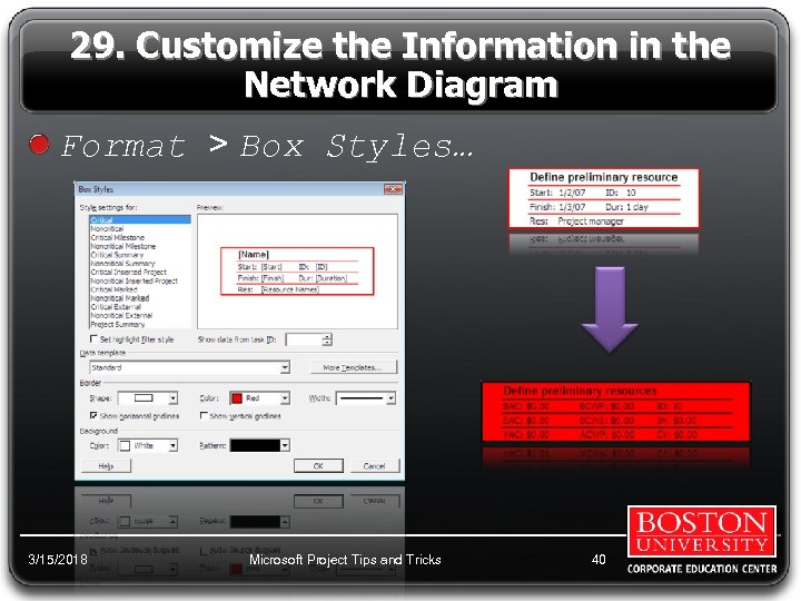 29. Customize the Information in the Network Diagram Format > Box Styles… 3/15/2018 Microsoft