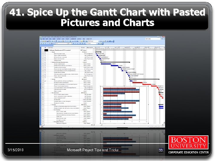 41. Spice Up the Gantt Chart with Pasted Pictures and Charts 3/15/2018 Microsoft Project