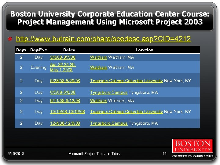 Boston University Corporate Education Center Course: Project Management Using Microsoft Project 2003 http: //www.