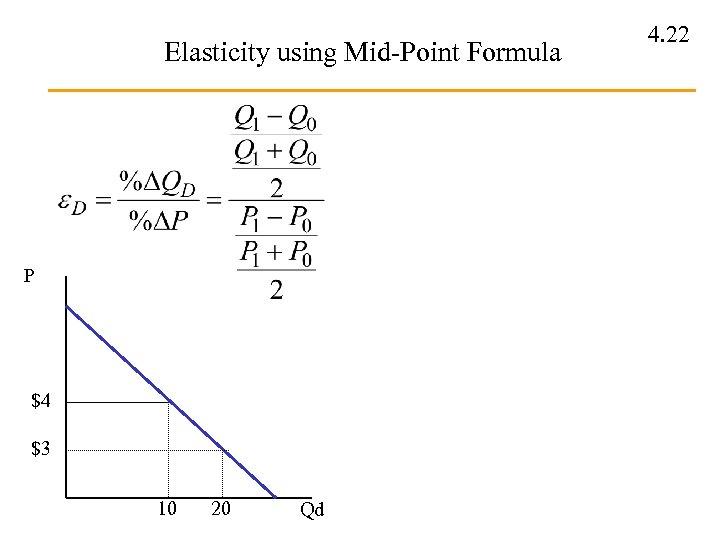Elasticity using Mid-Point Formula P $4 $3 10 20 Qd 4. 22
