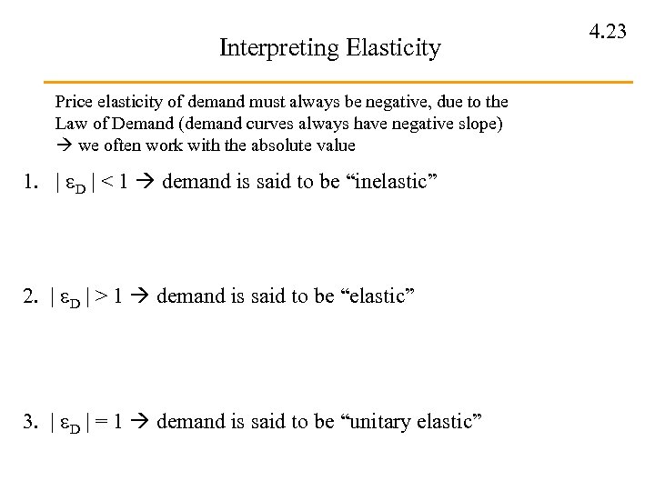 Interpreting Elasticity Price elasticity of demand must always be negative, due to the Law