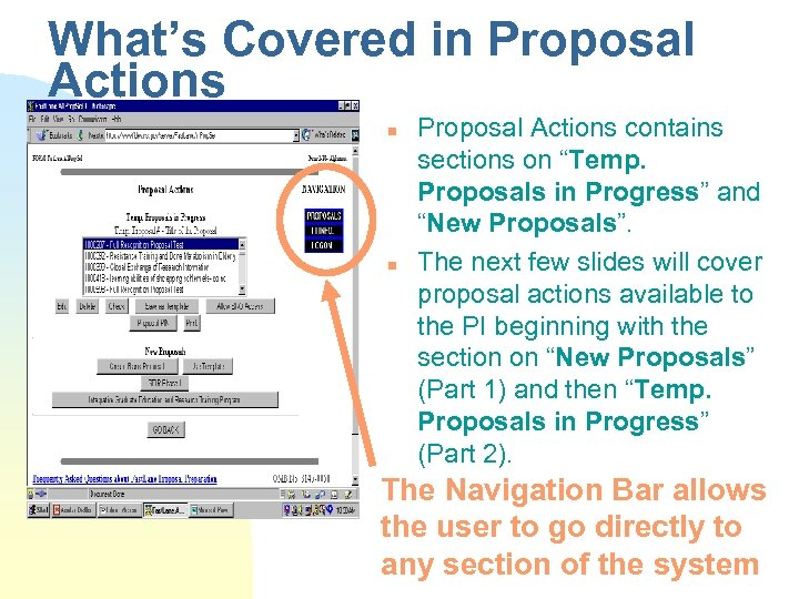"What's Covered in Proposal Actions n n Proposal Actions contains sections on ""Temp. Proposals"