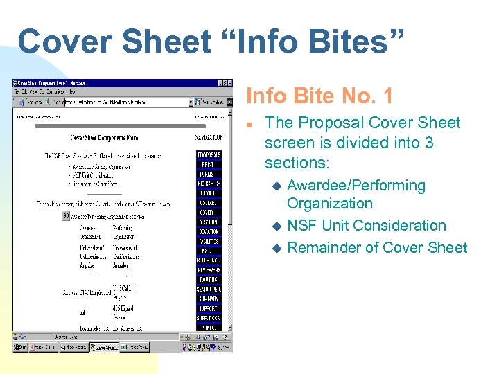 "Cover Sheet ""Info Bites"" Info Bite No. 1 n The Proposal Cover Sheet screen"