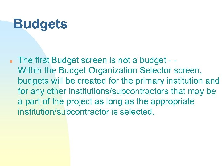 Budgets n The first Budget screen is not a budget - Within the Budget