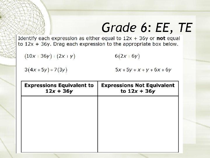 Grade 6: EE, TE