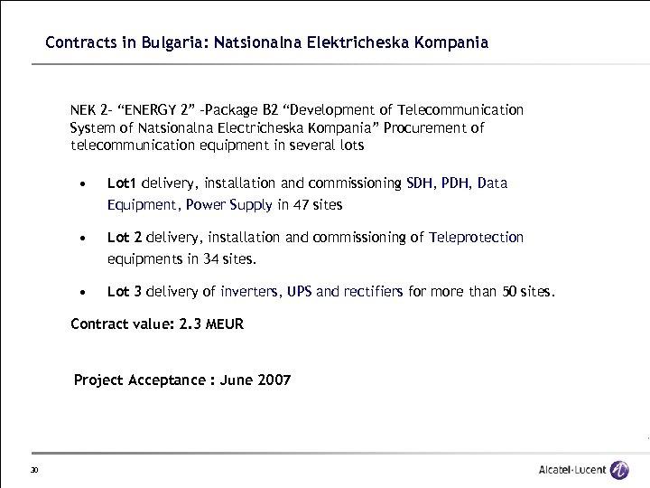 "Contracts in Bulgaria: Natsionalna Elektricheska Kompania NEK 2 - ""ENERGY 2"" -Package B 2"