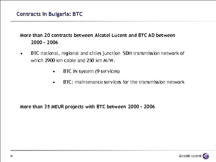 Contracts in Bulgaria: BTC More than 20 contracts between Alcatel Lucent and BTC AD