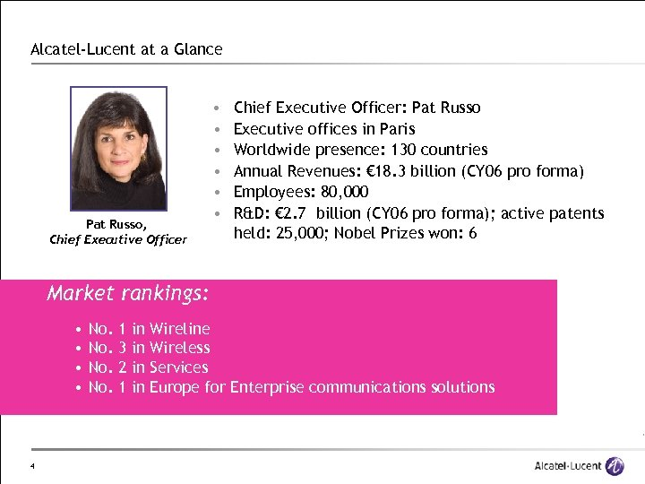 Alcatel-Lucent at a Glance Pat Russo, Chief Executive Officer • • • Chief Executive