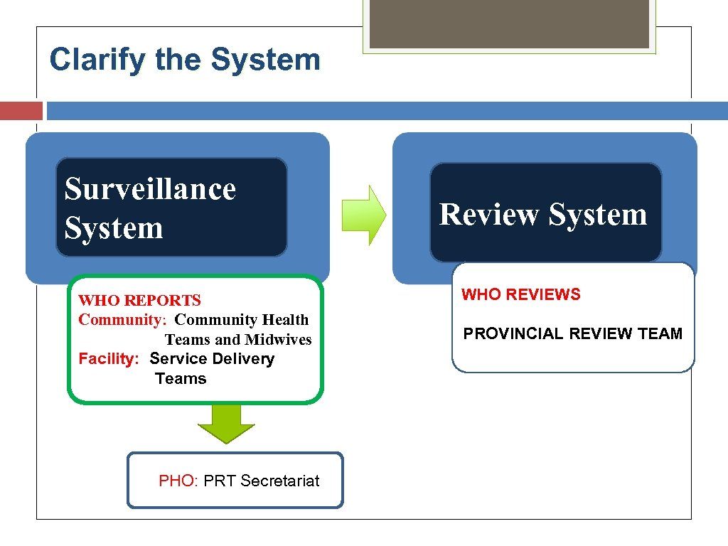Clarify the System Surveillance System WHO REPORTS Community: Community Health Teams and Midwives Facility: