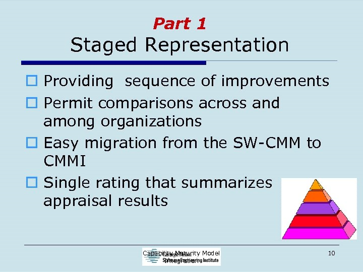 Part 1 Staged Representation o Providing sequence of improvements o Permit comparisons across and
